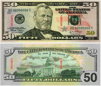 50 dollar bill new - front & back